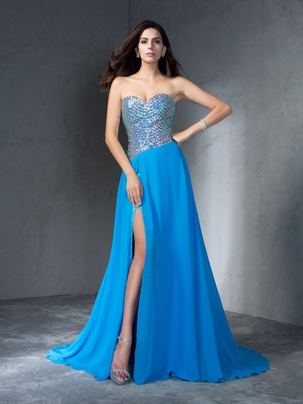 Elegant A-Line Sweetheart Cut Chiffon Long Dresses With Sequin