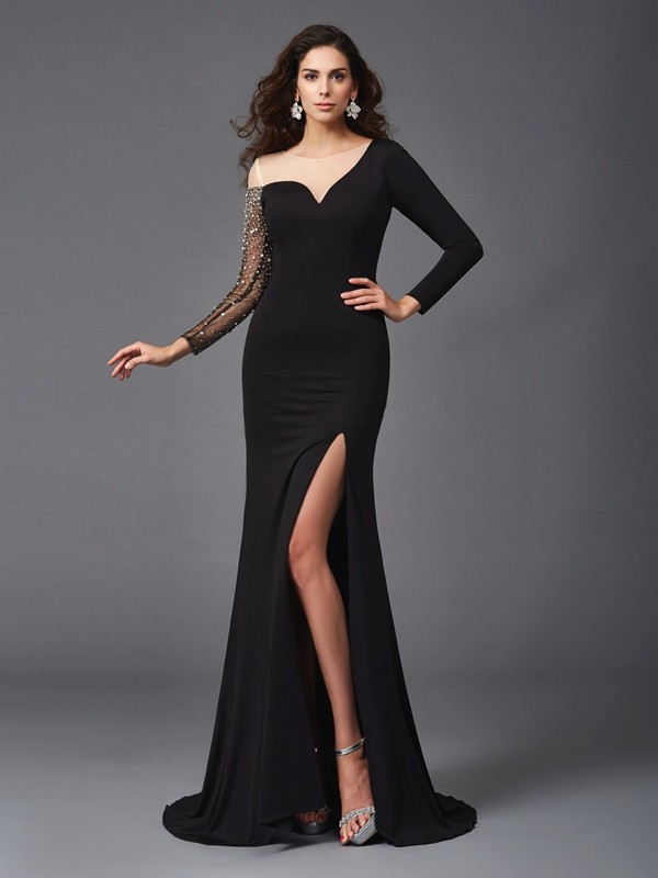 Amazing Sheath Scoop Cut Spandex Long Dresses With Beading