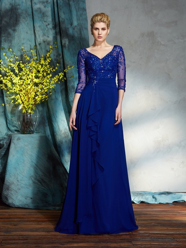 Graceful A-Line V-neck Cut Chiffon Long Mother of the Bride Dresses With Sequin