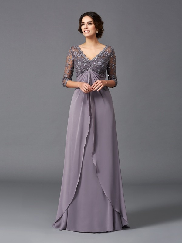 Elegant A-Line V-neck Cut Chiffon Long Mother of the Bride Dresses With Lace