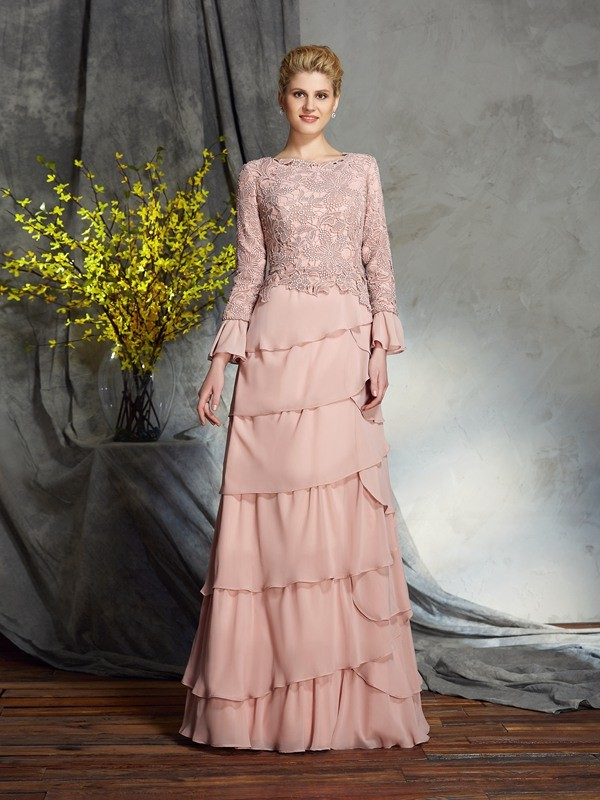 Elegant Sheath Scoop Cut Chiffon Long Mother of the Bride Dresses With Ruffles