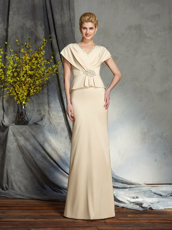 Fashional Sheath V-neck Cut Silk like Satin Long Mother of the Bride Dresses With Beading