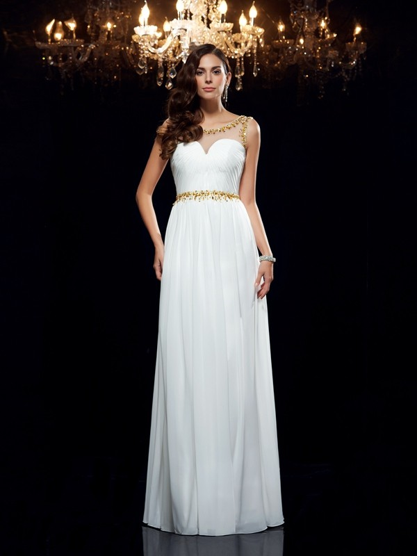 Awesome A-Line Sheer Neck Cut Chiffon Long Dresses With Beading