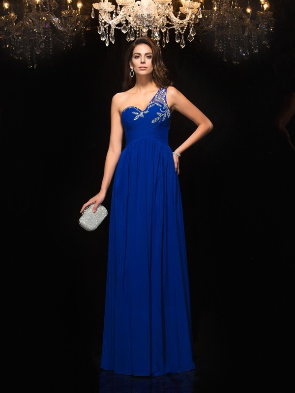 Exquisite A-Line One-Shoulder Cut Chiffon Long Dresses With Beading