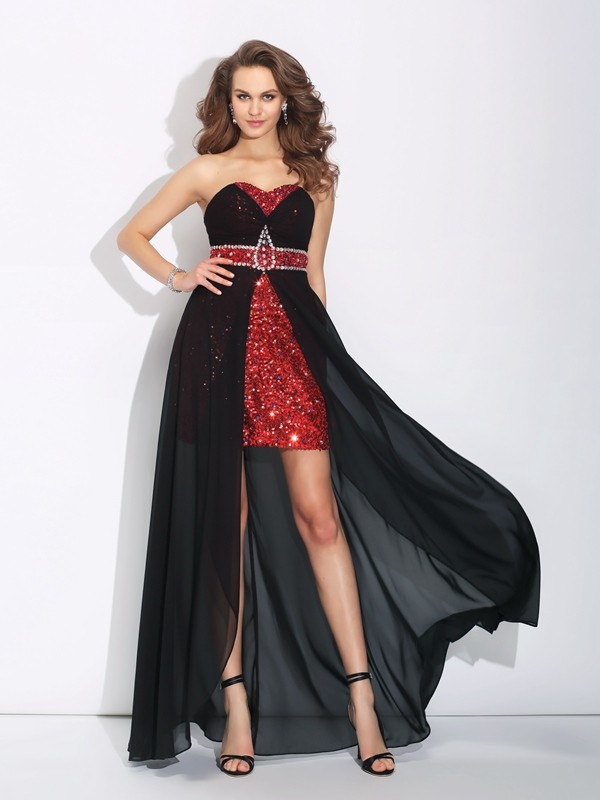 Unique A-Line Sweetheart Cut Chiffon High Low Dresses With Sequin