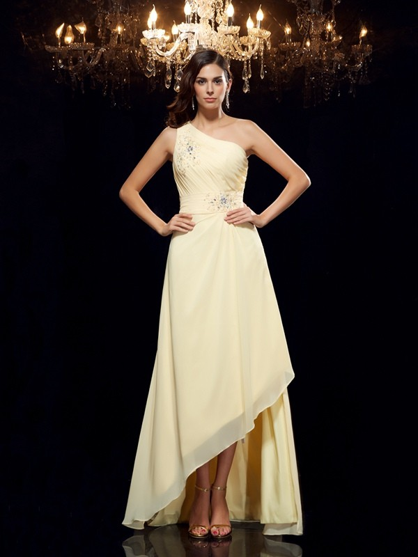 Amazing A-Line One-Shoulder Cut Chiffon High Low Dresses With Beading