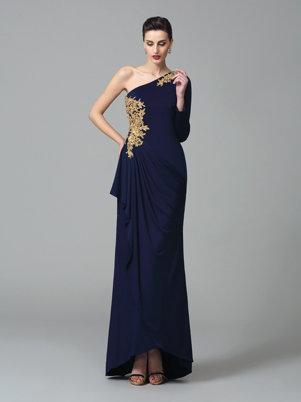 Stunning Sheath One-Shoulder Cut Spandex Long Dresses With Embroidery