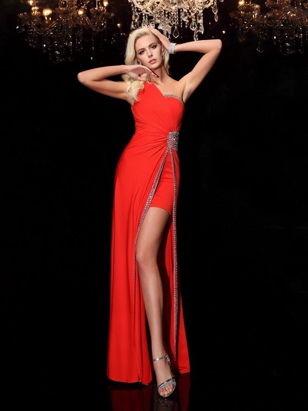 Fashional Sheath One-Shoulder Cut Spandex Long Dresses With Beading