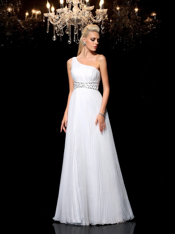 Shining A-Line One-Shoulder Cut Organza Long Dresses With Beading