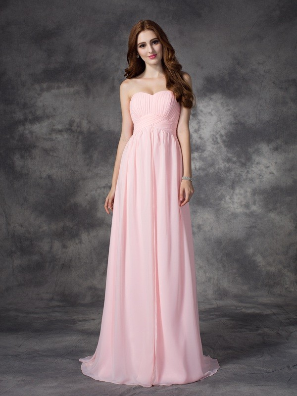 Special A-Line Sweetheart Cut Chiffon Long Dresses With Ruched