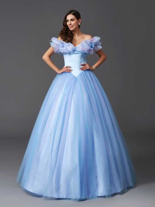 Dreamlike Ball Gown Off-the-Shoulder Cut Net Long Dresses With Beading