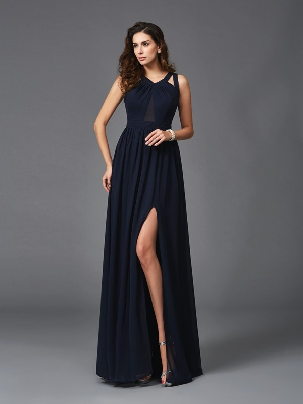 Brilliant A-Line Straps Cut Chiffon Long Dresses With Ruffles