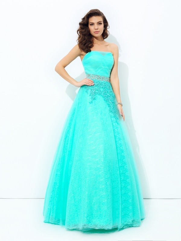 Soft A-Line Strapless Cut Elastic Woven Satin Long Dresses With Beading