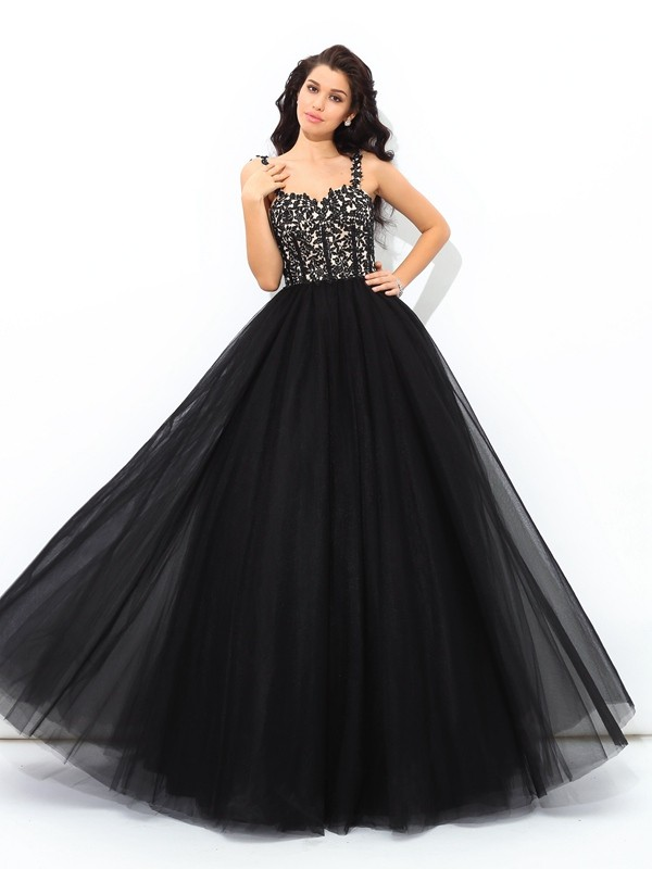 Radiant Ball Gown Straps Cut Net Long Dresses With Applique