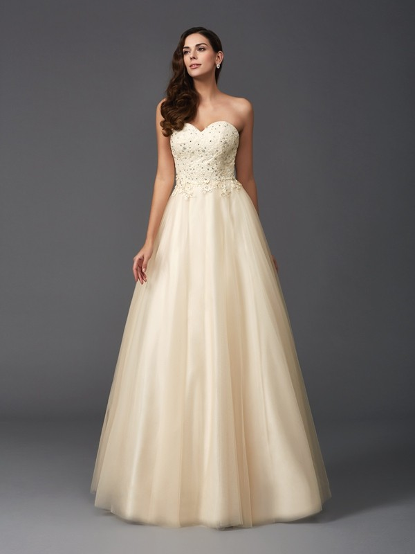 Smart A-Line Sweetheart Cut Net Long Dresses With Beading