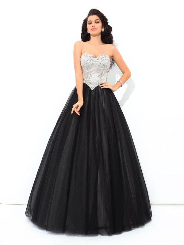Sweet Ball Gown Sweetheart Cut Net Long Dresses With Paillette