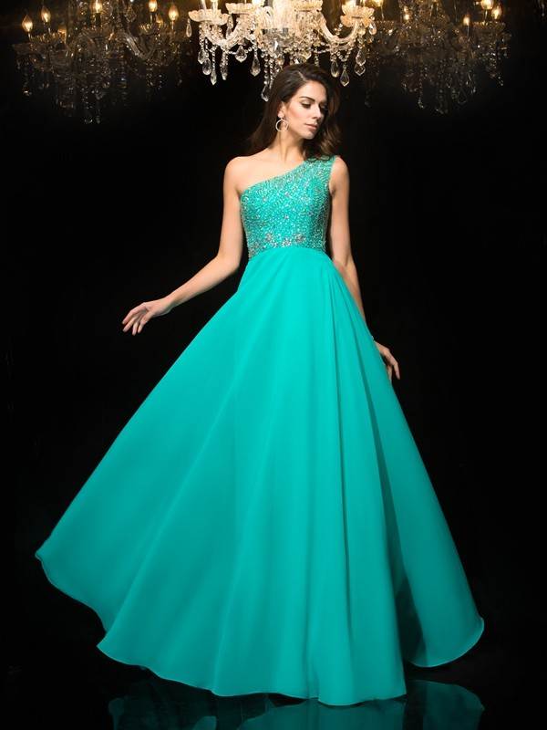 Hot A-Line One-Shoulder Cut Chiffon Long Dresses With Beading