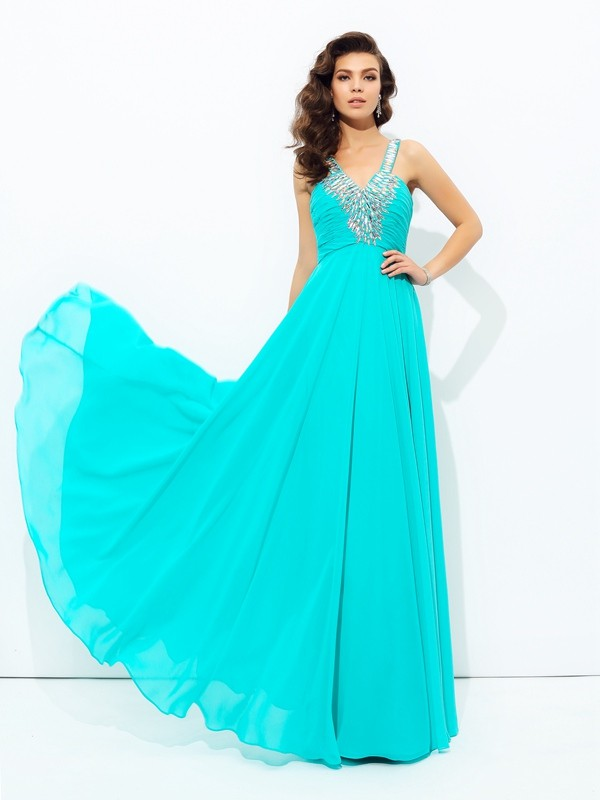 Gorgeous A-Line V-neck Cut Chiffon Long Dresses With Paillette
