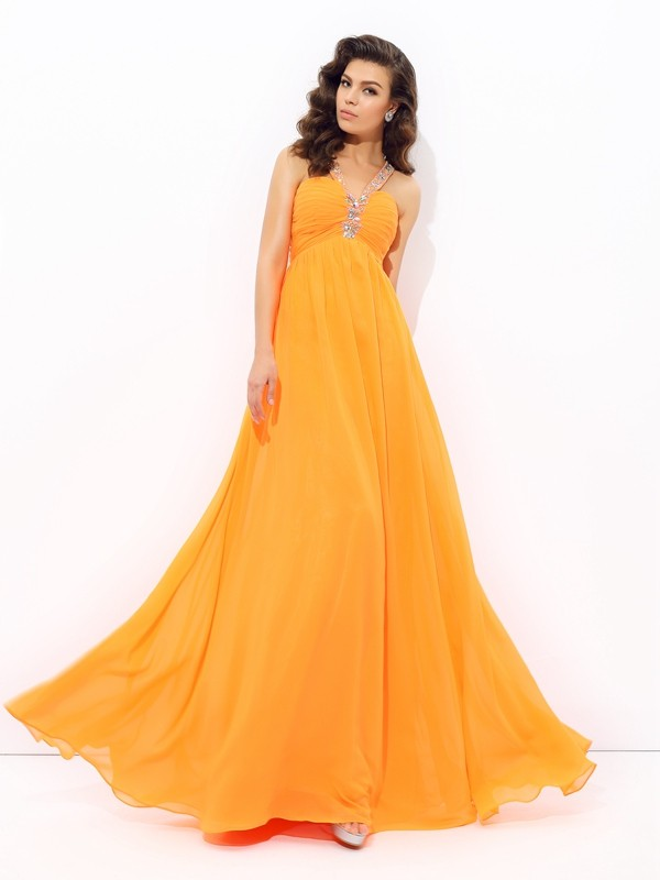 Nice A-Line V-neck Cut Chiffon Long Dresses With Rhinestone