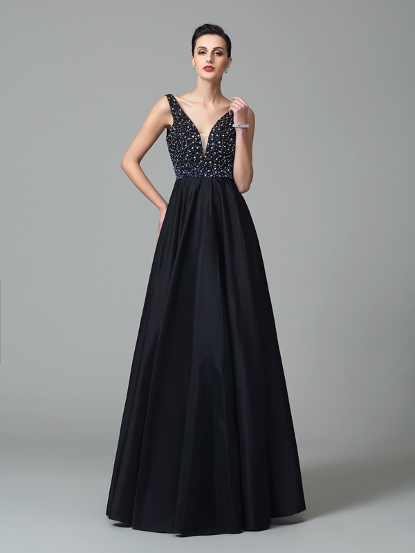 Charming A-Line Straps Cut Taffeta Long Dresses With Beading