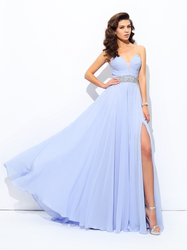 Awesome A-Line Sweetheart Cut Chiffon Long Dresses With Beading