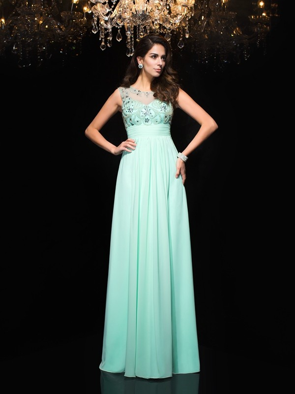 Exquisite A-Line Sheer Neck Cut Chiffon Long Dresses With Beading
