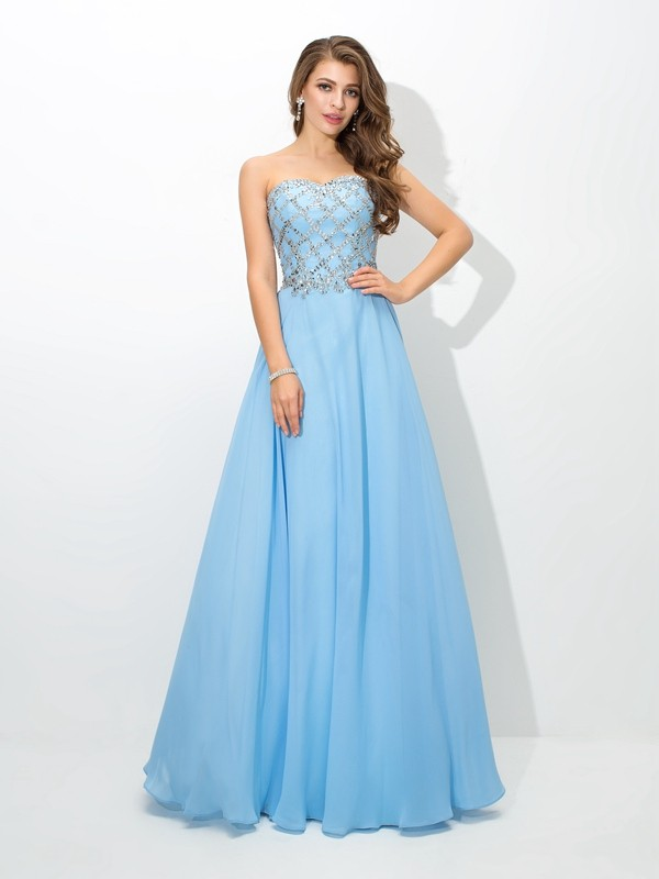 Lovely A-Line Sweetheart Cut Chiffon Long Dresses With Beading