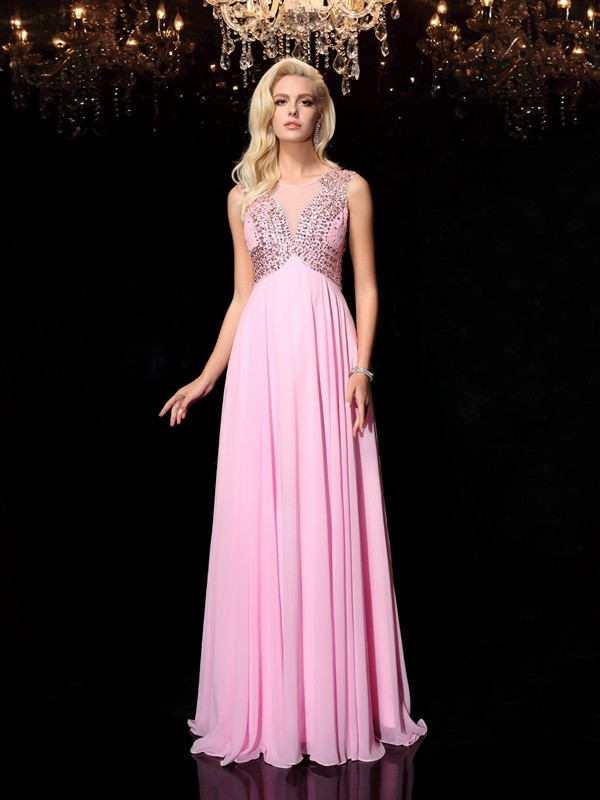 Shining A-Line Scoop Cut Chiffon Long Dresses With Beading
