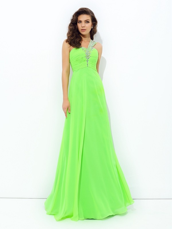 Attractive A-Line One-Shoulder Cut Chiffon Long Dresses With Rhinestone