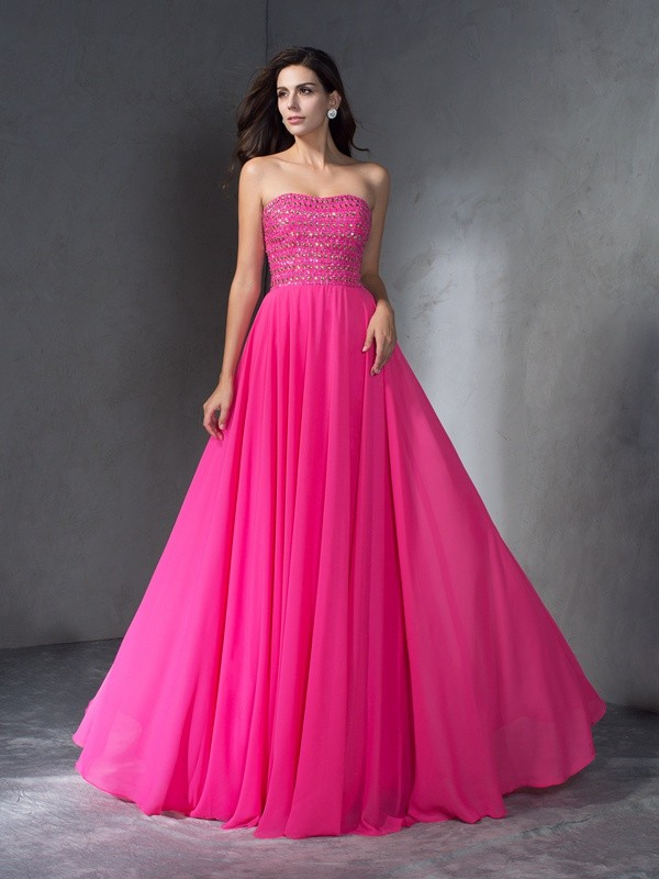 Delicate A-Line Sweetheart Cut Chiffon Long Dresses With Beading