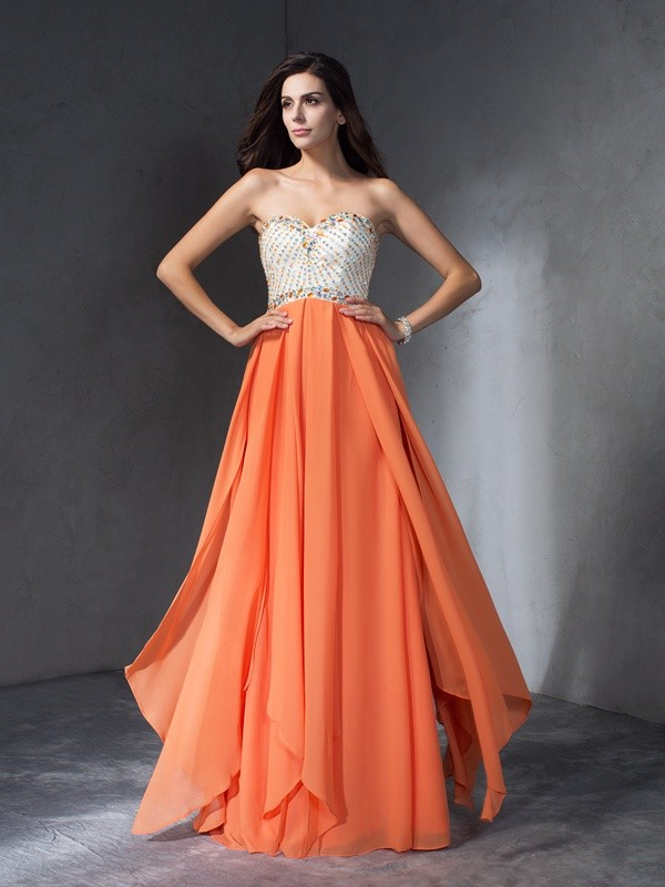 Bright A-Line Sweetheart Cut Chiffon Long Dresses With Beading