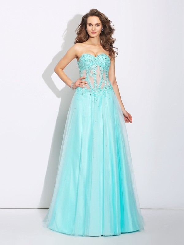 Dreamlike A-Line Sweetheart Cut Net Long Dresses With Lace