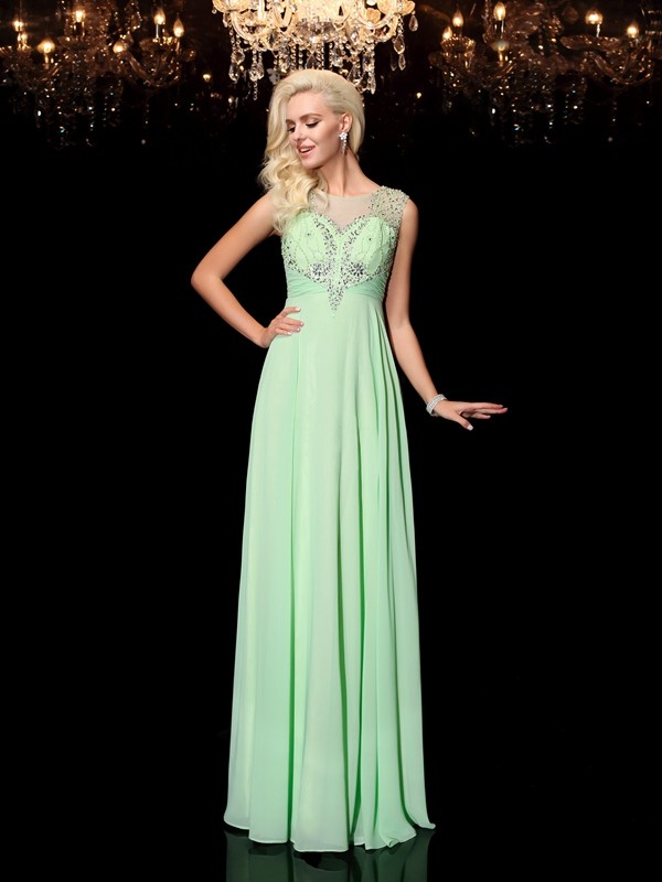 Brilliant A-Line Scoop Cut Chiffon Long Dresses With Beading