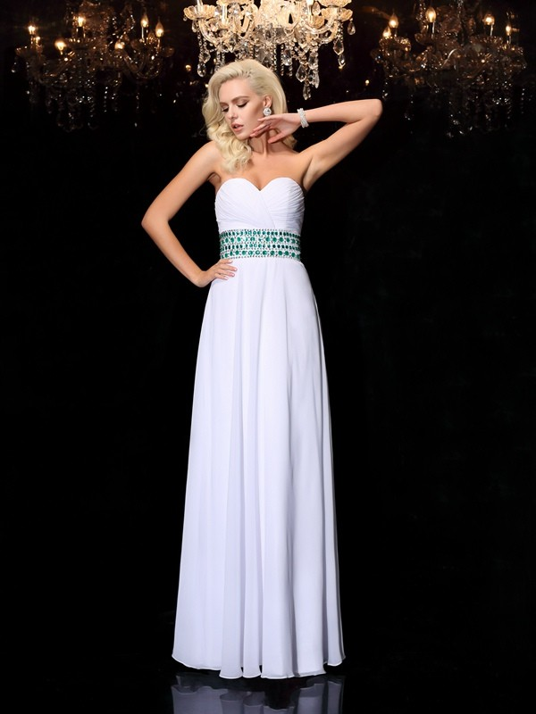 Soft A-Line Sweetheart Cut Chiffon Long Dresses With Rhinestone