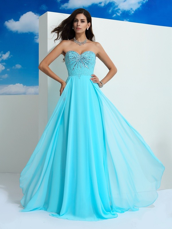 Radiant A-Line Sweetheart Cut Chiffon Long Dresses With Beading
