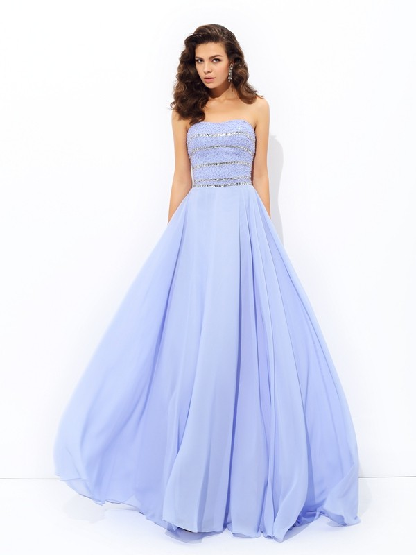 Smart A-Line Strapless Cut Chiffon Long Dresses With Beading