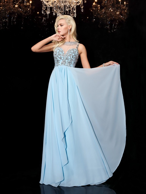 Chic A-Line Scoop Cut Chiffon Long Dresses With Beading