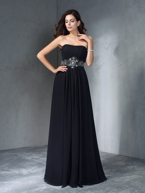 Hot A-Line Strapless Cut Chiffon Long Dresses With Beading