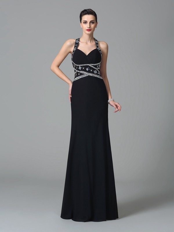 Glamorous Sheath Straps Cut Chiffon Long Dresses With Beading