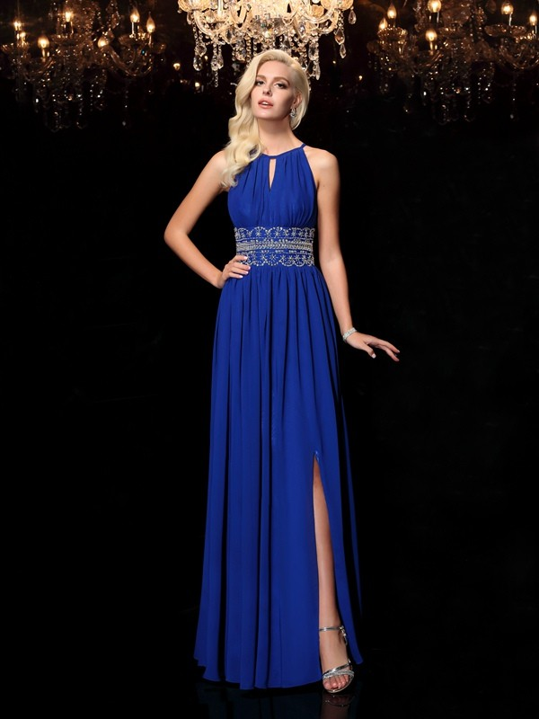 Popular A-Line Jewel Cut Chiffon Long Dresses With Beading