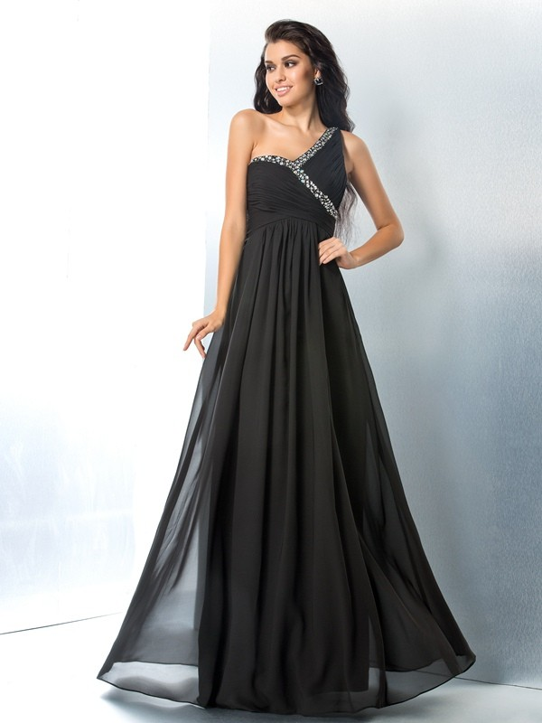 Trendy A-Line One-Shoulder Cut Chiffon Long Dresses With Beading