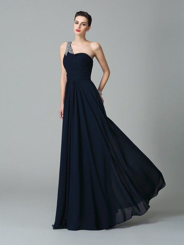 Gorgeous A-Line One-Shoulder Cut Chiffon Long Dresses With Rhinestone