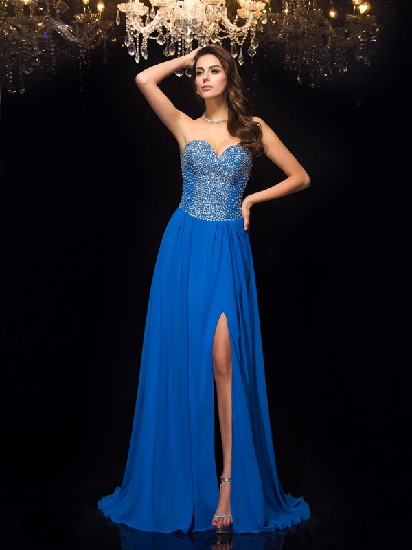 Charming A-Line Sweetheart Cut Chiffon Long Dresses With Beading