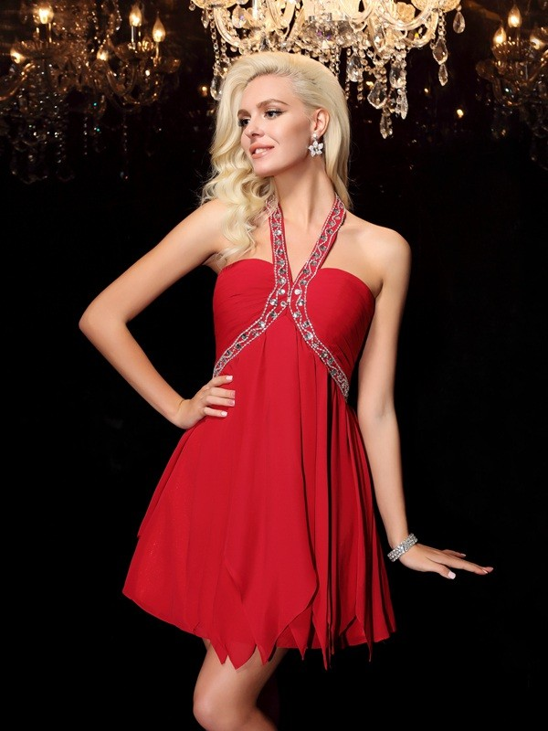 Awesome A-Line Halter Cut Chiffon Long Dresses With Beading