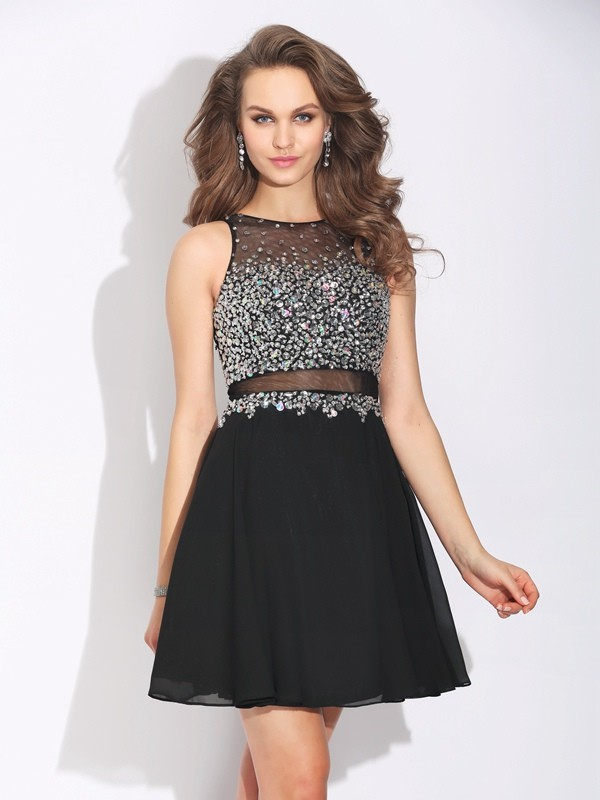 Graceful A-Line Jewel Cut Chiffon Short Dresses With Beading