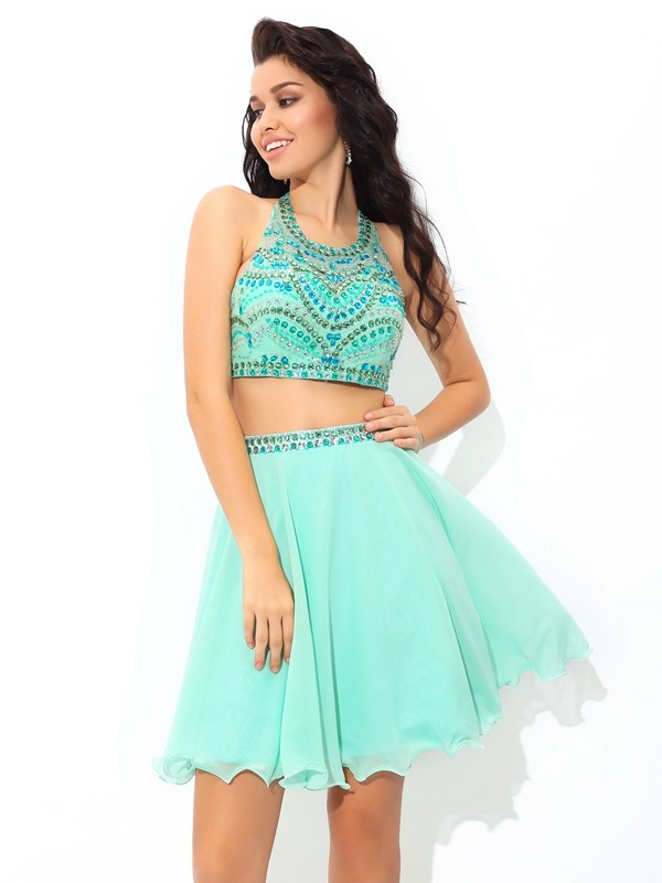 Stunning A-Line Sheer Neck Cut Chiffon Short Two Piece Dresses With Rhinestone