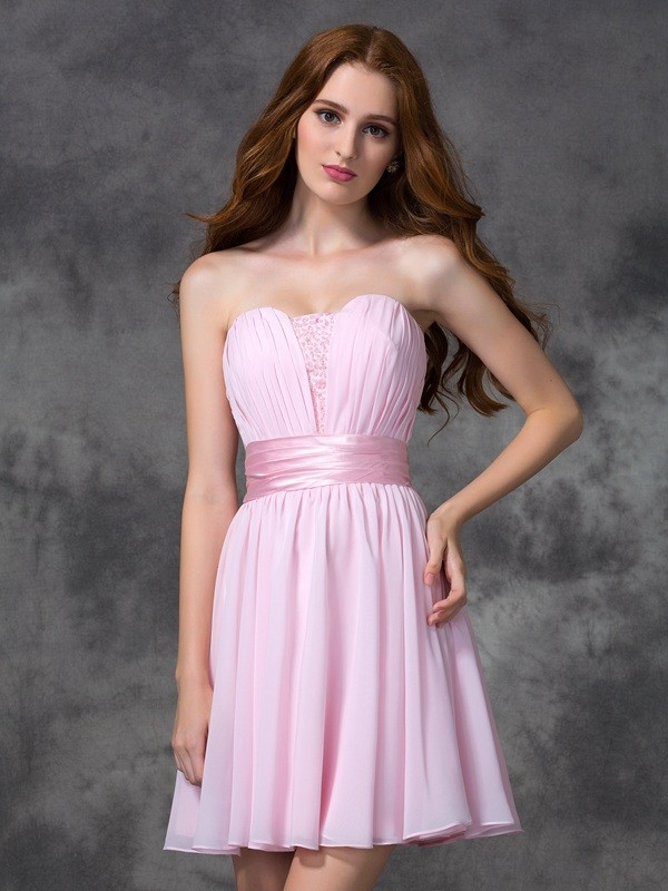 Special A-Line Sweetheart Cut Chiffon Short Dresses With Ruched