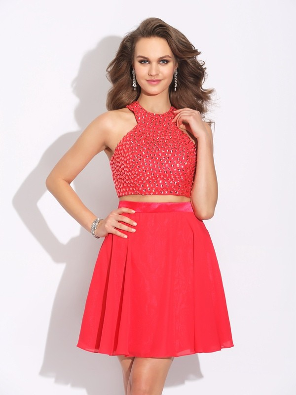 Delicate A-Line Jewel Cut Chiffon Short Two Piece Dresses With Crystal