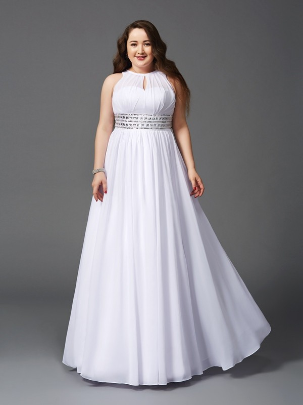 Soft A-Line Jewel Cut Chiffon Long Plus Size Dresses With Beading
