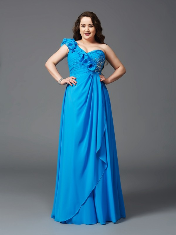 Smart A-Line One-Shoulder Cut Chiffon Long Plus Size Dresses With Rhinestone